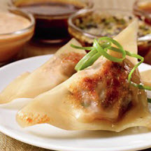 Chinese Beef Pot Stickers with Quartet of Dipping Sauces