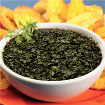 Fried Plantain Chips with Spicy Cilantro Dipping Sauce