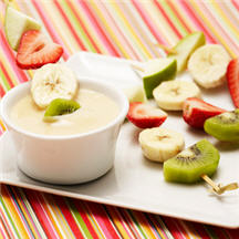 Fruit Kabobs with Creamy White Chocolate Sauce