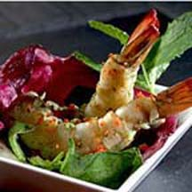 Shrimp Mojito Tapas with Honey Red Pepper Mint Dressing Saladette