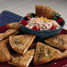 Spicy Cheese and Vegetable Dip with Pita Triangles
