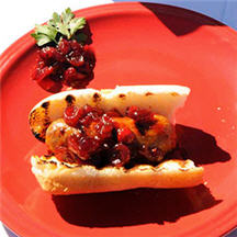 Touchdown Sausages with Chunky Cranberry-Beer Topping