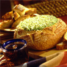 Warm Spinach Dip in Bread Bowl