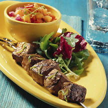 Beef Kabobs with Grilled Pineapple Salsa