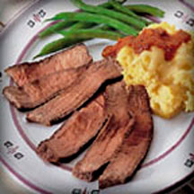 Broiled Beef Steak with Cheesy Microwave Polenta
