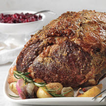 Dijon and Herb Rubbed Beef Roast with Cranberry Sauce