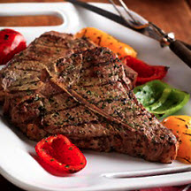 Grilled T-Bone Steak for Two with Lemon-Pesto Sauce