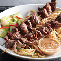 Hoisin-Marinated Beef Skewers with Peanut Dipping Sauce