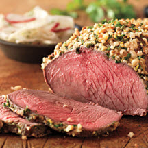 Nut-Crusted Top Sirloin Roast with Fennel-Radish Salad