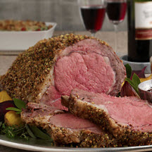 Pistachio-Crusted Beef Rib Roast with Holiday Wine Sauce