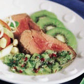 Rare Roasted Steak with Chilled Kiwifruit Salsa