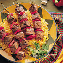 ... mix, threaded onto skewers with chunks of red bell pepper and grilled