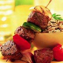 Steak Kabobs & Wild Rice with Mushrooms