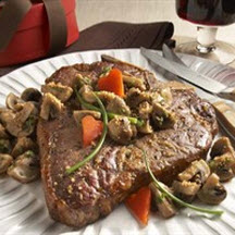 T-Bone with Parmesan-Dusted Mushrooms