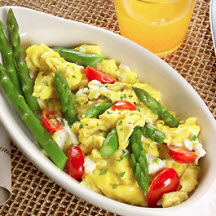 Asparagus Scramble with Herbed Cream Cheese and Tomatoes