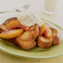 French Toast with Peaches and Mascarpone Cream