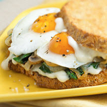 Fried Egg Sandwich with Spinach, Mushrooms, Onions and Aged Gouda Mornay Sauce