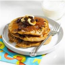 No-Mess Banana Nut Pancakes with Cinnamon-Raisin Syrup
