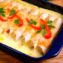 Sunrise Ham and Cheese Enchilada Bake