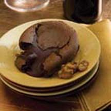 Molten Chocolate Cake with Candied Walnuts