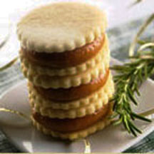 Brown Butter Sandwich Cookies with Rosemary Caramel