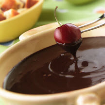 -scented chocolate and mascarpone fondue spiked with either bourbon ...