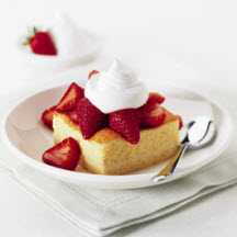 Honey Spoonbread with Sliced Strawberries