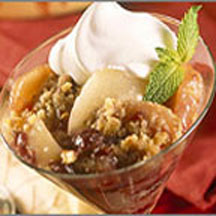 This wholesome three-fruit, crumble-topped dessert is perfected with a ...