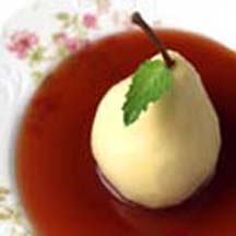 Poached Pears in Balsamic Red Currant Sauce