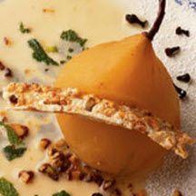 Warm Poached Bosc Pear Stuffed with Blue Cheese