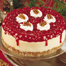 white chocolate cheesecake—with a pecan-graham crust and cherry ...