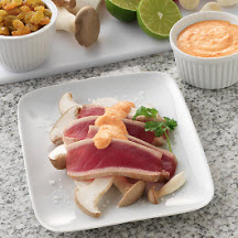 Ahi Tuna on Mushrooms with Raisin Cream