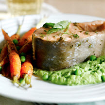 Alaska Keta Salmon Steaks with Pea-Mint Purée and Dilled Baby Carrots