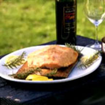 Cedar-Planked Salmon with Blueberry Zinfandel Sauce Recipe ...