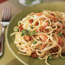 Fettuccine with Smoked Salmon, Peas and Pecans