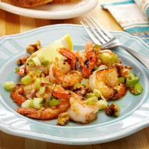 Grilled Shrimp with Walnuts and Scallions