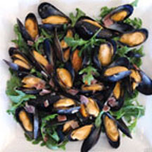 Mussels with Greens and Blue Cheese