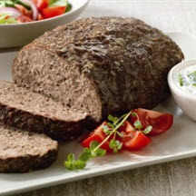 Athenian Meatloaf with Cucumber-Yogurt Sauce