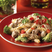 Beef, Broccoli and Pasta Alfredo
