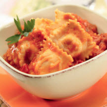 Cheese Ravioli with Sausage and Marinara Sauce