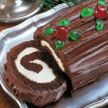 Chocolate and White Yule Log