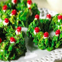 Holly Wreath Cookies Recipe Cooksrecipes Com