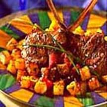 Crispy Potato Croutons with Grilled Marinated Lamb Chops