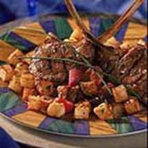 Grilled Marinated Lamb Chops with Crispy Potato Croutons
