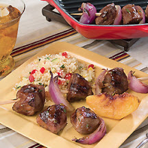 Grilled Peach and American Lamb Kebabs