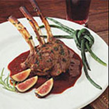 Grilled Rack of Lamb over Rosemary Fig Sauce