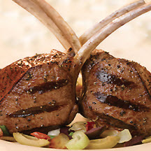 Grilled Rib Chops with Savory Artichoke Tapenade Sauce