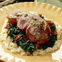 Pan Broiled Lamb Chops over Sauteed Spinach and Pancetta