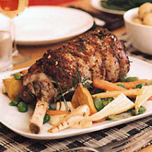 Roast Leg of Lamb with Mustard and Rosemary