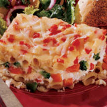 ... and delicious four cheese mostaccioli pasta and vegetable casserole